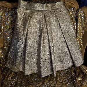 Eliza J Gold Pleaded Skirt!